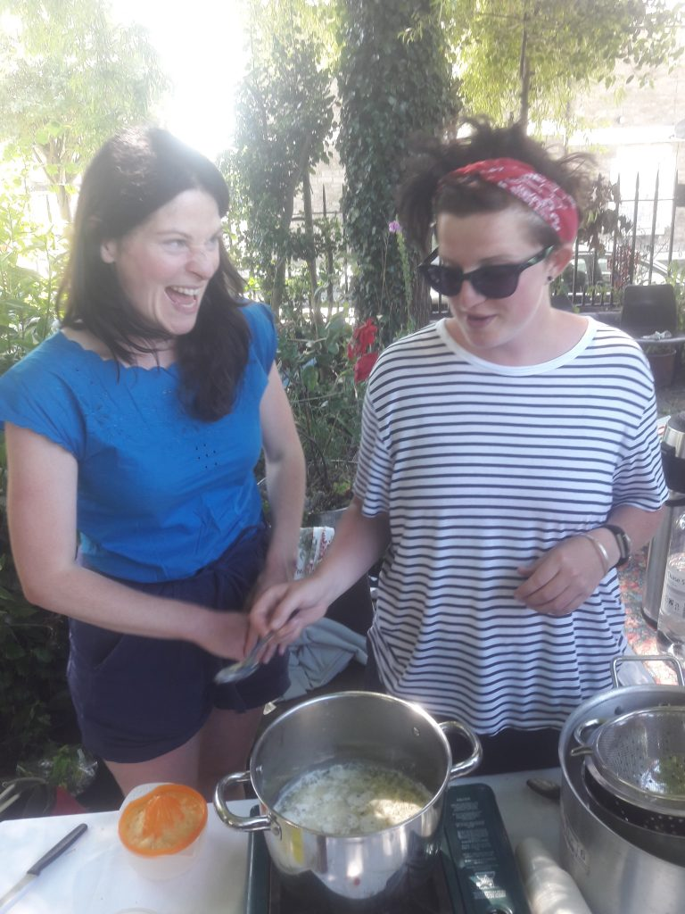 Emily Price, Community Garden Project's resident artist & Pip Tudor, madeinroath coordinator @ the Great Get Together 17/06/17